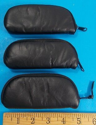 "Lot Of 3 Black Zip-Up Knife Pouches With Fleece Interior 5"" Total Length Stidham"