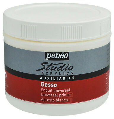Pebeo Studio Acrylic Auxiliaries Gesso Paint Primer in White 500ml