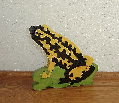 Wood Frog Puzzle, Handcrafted Wood Art, Play or Display Nature Art