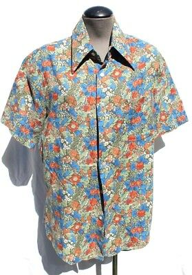 c434c912 Vtg Men's Kings Road Sears Retro Abstract Floral Button Down Collar Shirt  Large