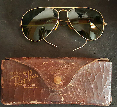 be4ff5dfb2 VINTAGE WWII BAUSCH   Lomb Ray-Ban Gold Aviator Sunglasses 1 10 10K ...