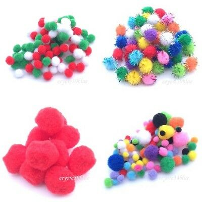 POM POMS Plain & Glitter Seasonal Crafts 6,8,10,15,20 or 28mm Packs EASTER SALE