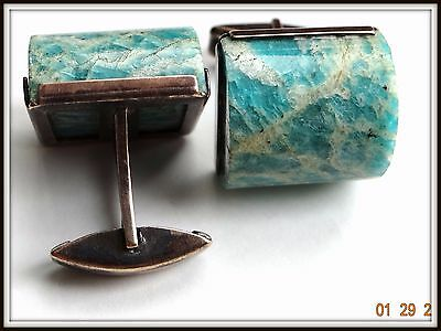 HUGE RARE Cufflinks Antique RUSSIAN Sterling SILVER 875  AMAZONITE star mark GP