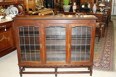 Barley Twist English Jacobean Leaded Glass Antique Bookcase / Display Cabinet