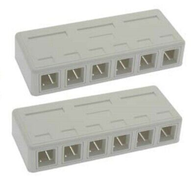 4 port 8P8C RJ45 Cat5e Cat6 Network Cable Wall Surface Mount Box White 2 Pack