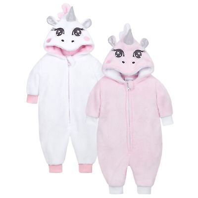 Baby Unicorn Sleepsuit Pram Suit White Pink Warm All in One Novelty Photo Cute