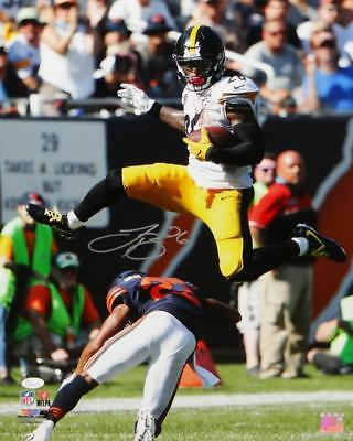 b30714bee LeVeon Bell Autographed Steelers 16x20 PF Photo Jumping over Bears- JSA W  Auth