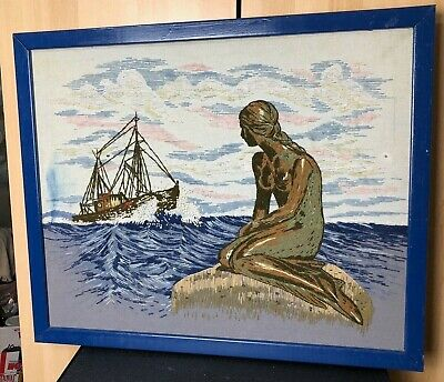 Needlepoint Mermaid sitting on rock with ship large framed Completed