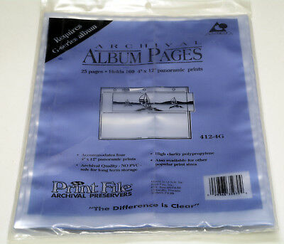 PRINT FILE archival preservers PVC free pages for 4x12 inch prints PACK of 25
