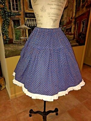 Vintage  Rockabilly Blue Calico Print   Full Circle  Square Dancing Skirt   L