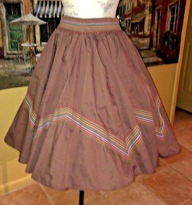 Vintage Rockabilly   Brown   Full Circle  Square Dancing Skirt   L