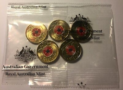 2018 Coloured $2 Remembrance Day Armistice Centenary 1 Coin From RAM Sachet