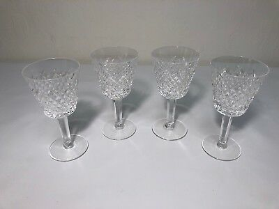 Set of 4 WATERFORD Crystal ALANA Wine Goblets / Glasses - 5 7/8 Inches