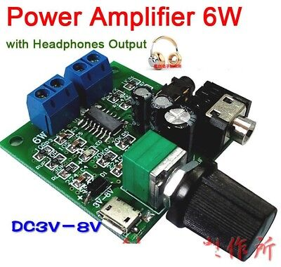 6WX2 Micro USB Power Amplifier Stereo AMP Audio board w Headphone Output