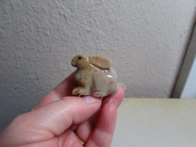 Rabbit, Hand carved Stone from the Andes. Multi Colored Miniature stone Rabbit