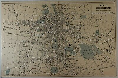Antique Colored Map - PLAN OF CHELTENHAM - Lithograph - c1875
