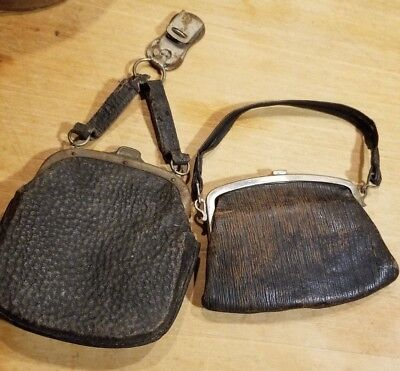 Primitive Antique Leather Edwardian Or Victorian Change Purses Lot Of 2