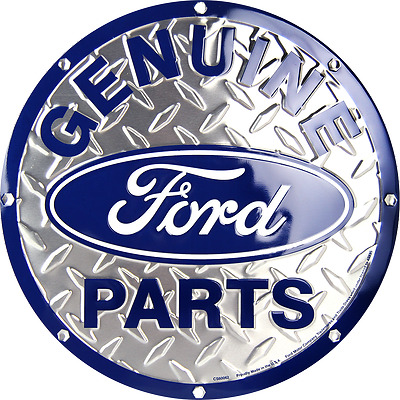 "Ford Genuine Parts 12"" Embossed Circle Round Sign Made in the USA"