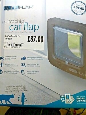 Sureflap Microchip Cat Flap Brown Brand New Sealed  Fast Free Post