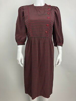 Vintage Adrianna Papell Women's Dress Sheath Silk Striped Lightweight Size 6