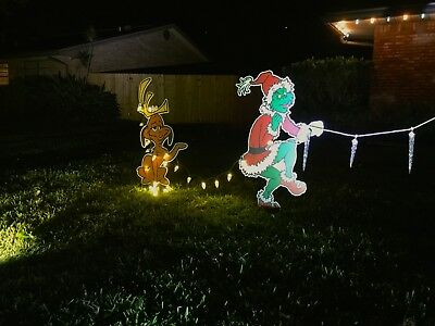 Grinch Christmas Lights.Grinch Stealing Christmas Lights Lawn Decoration Max The Dog Too