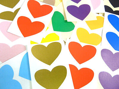50x37mm Heart Shaped Colour Code Labels, Coloured Sticky Self-Adhesive Stickers