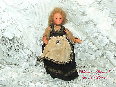 Antique Vintage Signed France 175 Celluloid Mohair Hair Original Dress Doll