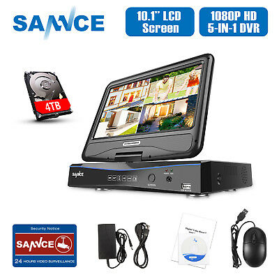 """SANNCE Full 1080P 10"""" CCTV Monitor 4CH 8CH DVR for Security Camera System 0-4TB"""