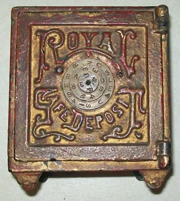SAVE $50! ANTIQUE 1800's  CAST IRON ROYAL SAFE DEPOSIT TOY BANK - DECALS MISSING