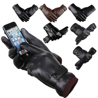 Mens PU Leather Gloves Touch Screen Thermal Thinsulate Lined Driving Warm Gloves