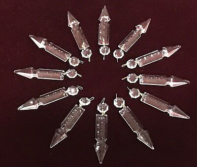 "Lot of 12 Vintage • NOS • 3-7/8"" Spear Cut Crystal Prisms • Lamp, Chandelier"
