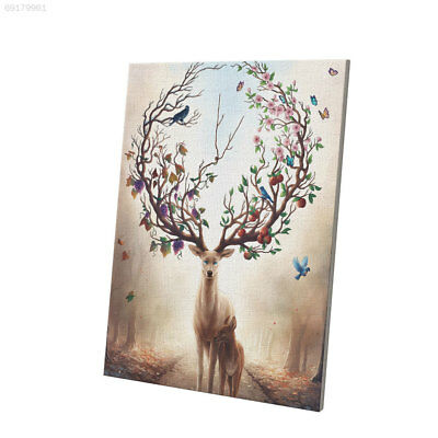 12D4 Oil Painting Christmas Elk Deer Canvas Home Living Room Gifts Ornaments