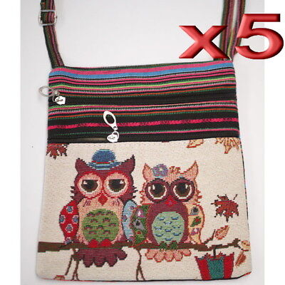 5pc Wholesale Owl Canvas Long Shoulder Crossbody Handbag Women Girl Bag Purse