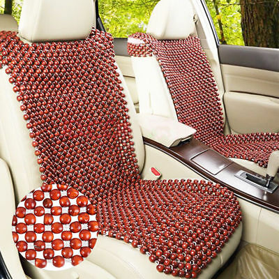 ☆Natural Wooden Beaded Car Auto Taxi Seat Cover Bead Cushion Pad Massage Back x1