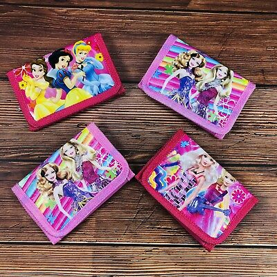 4pc KIDS  WALLET/ PURSE Barbie Princess Pink Girl PARTY Birthday Christmas Gift