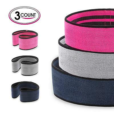3x Hip Band Circle Resistance Fitness Loop Peach Booty Squat Lunge GYM Exercise
