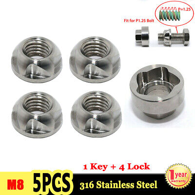 M8 Anti Theft Security Lock Nuts Keys 8mm for LED Work Light Bar 1 Key + 4 Locks