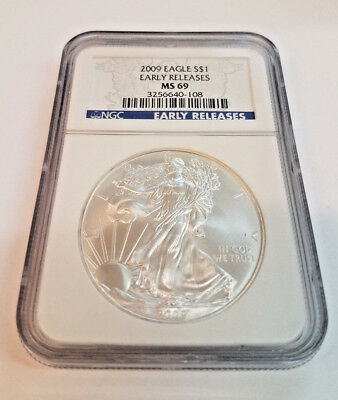 2009 1 oz SILVER AMERICAN EAGLE $1 NGC Graded MS 69 Early Release Banner
