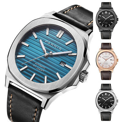 42mm Parnis Miyota Automatic Luminous Marker Men's Casual Watch Date Waterproof