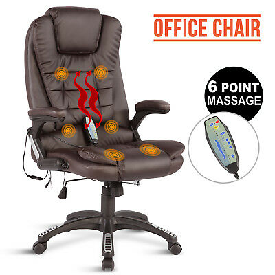 Executive 6 Point Massage Heated Ergonomic Recliner Computer Office Chair Brown