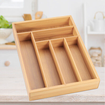6 Compartments Bamboo Wooden Cutlery Tray Drawer Organiser Storage Drawer Insert