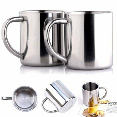 Stainless Steel Double Wall Tea Water Tumbler Camping Travel Mug Hiking Sport YU