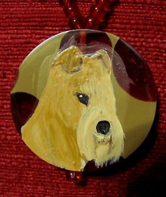 Lakeland Terrier hand painted on a round acrylic pendant/bead/necklace