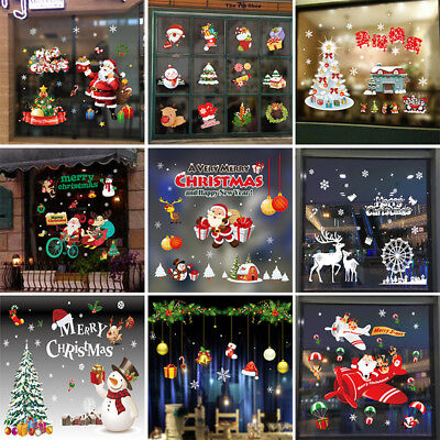 Merry Christmas Santa Window Wall Stickers Vinyl Decal Home Decor Removable AU