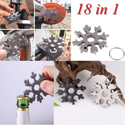18 In 1 Outdoor Stainless Steel Multi-Tool Snowflake Cross Head Key Chain Tools