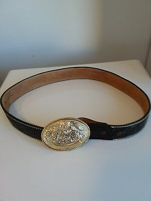 Ladies tooled leather belt with solid brass buckle