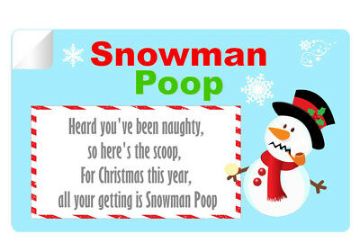 21 X Snowman Poop Poem Stickers High Quality Glossy Labels 195
