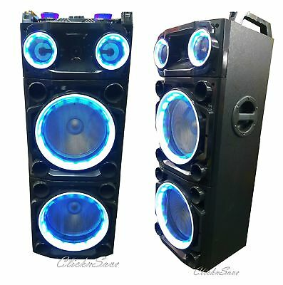 Bluetooth Loud DJ Party Disco Speaker With Karaoke USB SD RGB LED AUX RADIO