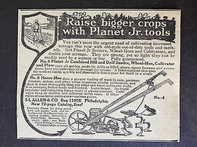 Antique 1918 Ad {Xx31)~Planet Jr. Cultivator, Horse Hoe, Seeder No.4 & No.8