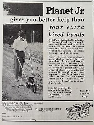 1931 Ad(Xa13)~Planet Jr. No.25 Combination Seeder And Wheel Hoe.